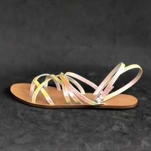 J CREW metallic multi color strap sandals